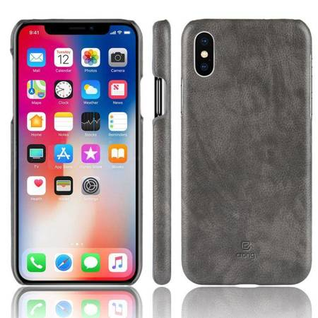 Crong Essential Cover - PU Leather Case for iPhone Xs / X (grey)