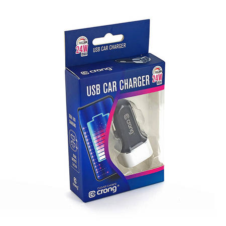 Crong Power Car Charger 24W with Dual USB Port (aluminium)