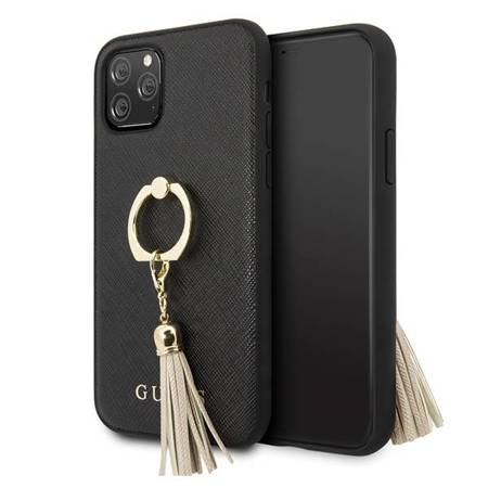Guess GUHCN58RSSABK iPhone 11 Pro czarny/black hard case Saffiano with ring stand
