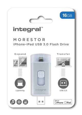 Integral MoreStor, a compact and convenient Flash Drive with both USB 3.0 and Lightning