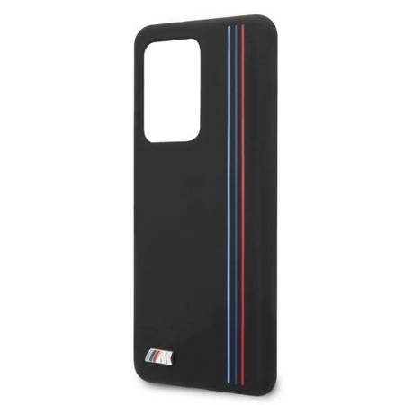 Etui hardcase BMW BMHCS69SIVTBK S20 Ultra G988 czarny/black Silicone Stripes M Collection