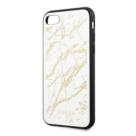 Guess Marble Glass Gold Glitter - Etui iPhone SE 2020 / 8 / 7 (Biały)