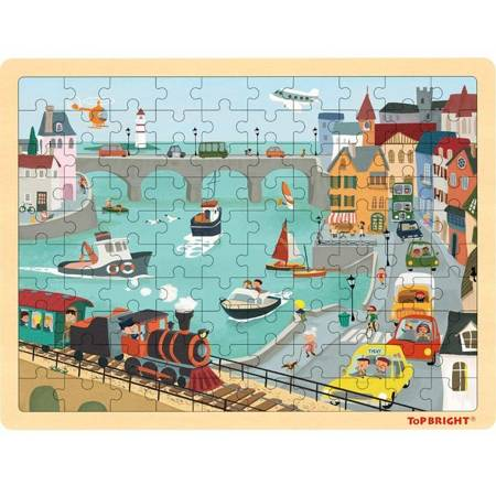 TOP BRIGHT - Puzzle drewniane port (100 el.)