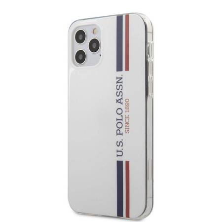 US Polo Assn Shiny Tricolor Stripes - Etui iPhone 12 / iPhone 12 Pro (biały)